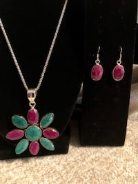 SS (925) Raw Stones Necklace and Earring Set