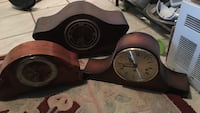 three brown wooden mantle clocks Toronto