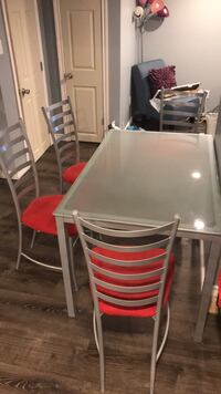 rectangular white wooden table with four chairs dining set Hamilton, L8H 6X9