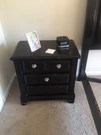 Queen bed plus one Black wooden 3-drawer nightstand  Silver Spring, 20906