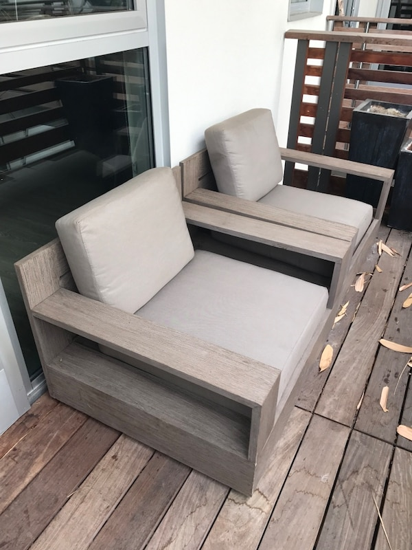 Used Restoration Hardware Marbella Teak Outdoor Armchairs For Sale