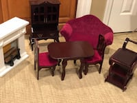 "Living room and dining room for 18"" dolls. Couch is authentic American Girl Bohemia, 11716"
