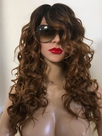 Brown curly wig 20 inch long ombré dark roots very high quality synthetic silk smooth texture classic you can use your hot tools