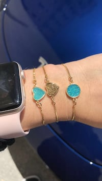 gold-colored and blue gemstone bracelet Miami, 33135