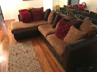 brown and black suede sectional couch New York, 11203