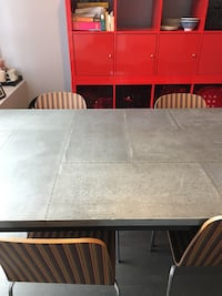 West Elm Dining Table for 8. Distressed metal look. Toronto, M6J 2Y9