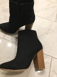 Just Fab suede high block heel black booties Mississauga, L5S