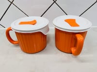 2 NEW Corningware 20-Ounce Oven Safe Meal Mug with Vented Lid, Orange