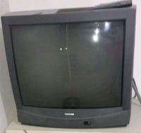 gray CRT television with remote Sterling