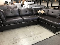 New espresso leather sectional couch  2270 mi