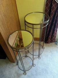 two metal  mirror glass  stand Pickering