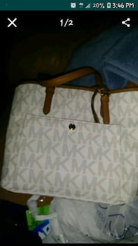 white and brown Michael Kors leather tote bag Cathedral City, 92234