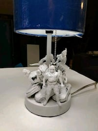 New Toy Themed Kids Lamp - white w/ blue lampshade