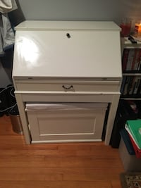 White Secretary Desk w/ Storage Bench Alexandria