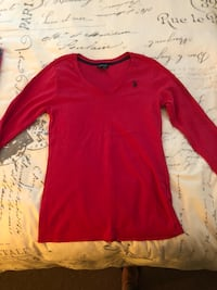 red scoop-neck long-sleeved shirt Jersey City, 07305