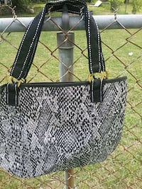 white and black leather tote bag Belvedere