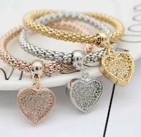 NEW 3D Heart Charms 3 Piece Lot Fashion Popcorn Chain Bracelet Set Lubbock