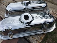 3.8 Ford chrome valve covers. Basically fits any 3.8 Ford engines. They are brand new never been used. No Gaskets. Gaskets do not come with these brand new. This set runs about 90 dollars new.