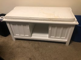Wooden Storage Bench with Sliding Doors and Padded Seat,White
