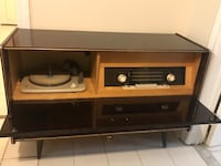brown wooden framed glass top TV stand Toronto, M3H 2L4