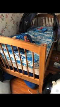 Twin bed with mattress box spring and frame