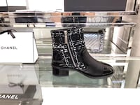 black Chanel leather cap-toe side-zip boot with box Dallas, 75202