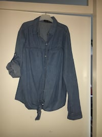 Graues chambray button-up Langarmshirt Stuttgart, 70180