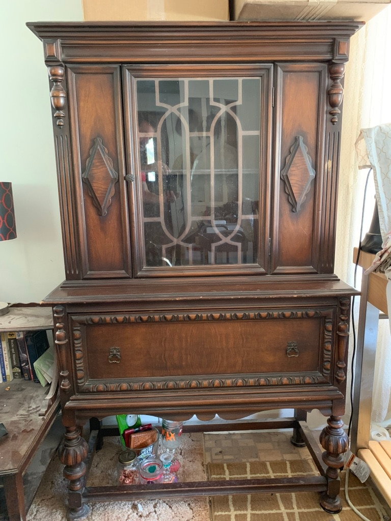 Antique China Cabinet Hutch With Large Drawer