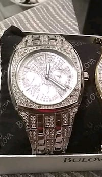 round silver-colored chronograph watch with link bracelet Edmonton, T5A 3T7