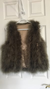 brown and gray fur vest