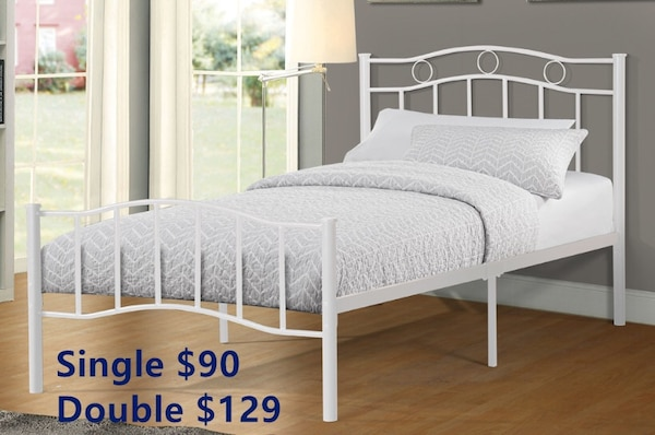 Brand new white metal bed frame warehouse sale