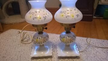 Hurricane lamps (set of 2) Dainty Blue/Yellow floral print