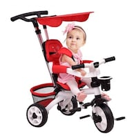 Red 4-in-1 Detachable Baby Toddler Stroller Learni Brooklyn