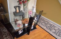Contemporary Black Entry way table with glass Burke
