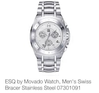 Esq by movado silver link bracelet silver and white round chronograph watch South Fayette, 15057