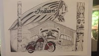 Indian Motorcycle Signed Lithograph 3731 km