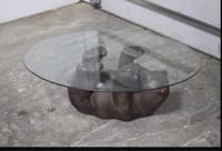 MOVING SALE: Bear cub and glass coffee table