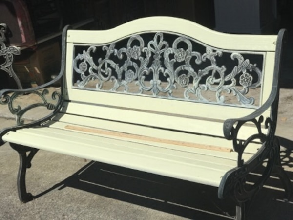 Peachy Gray Metal Framed White Wooden Bench Uwap Interior Chair Design Uwaporg