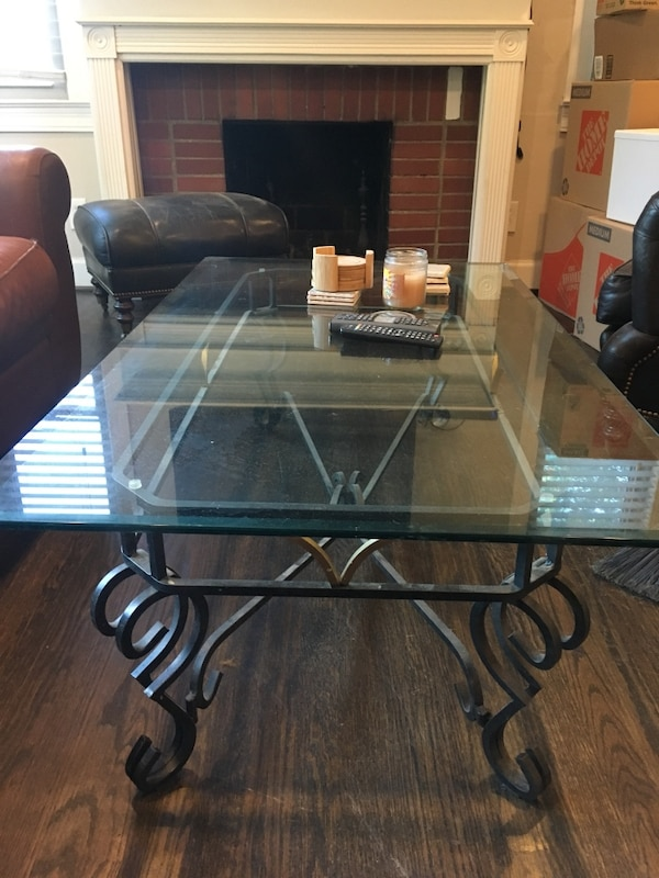Beautiful Wrought Iron Glass Coffee Table