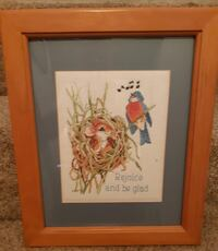 """Needlepoint Framed with Glass 14"""" x 17"""" SALE LOT 1  """"Rejoice""""  Pick-up in Newmarket  (ref # offtovv) Newmarket"""
