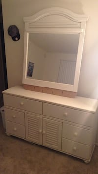 Used Cute White Wooden Dresser With Mirror For Sale In