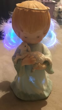 Light up guardian angel ceramic figurine
