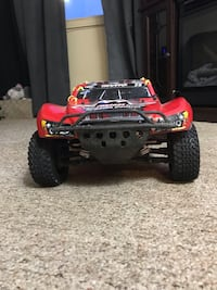 Red and black rc car 605 km
