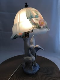 Vintage Bird Figurine Lamp with Reverse Painting Lampshade signed