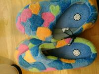 blue-and-multicolored house slippers