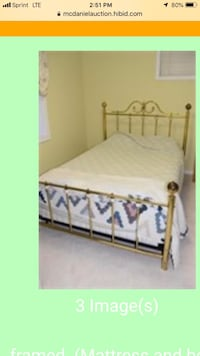 White and brown wooden bed frame( queen) Fairfax, 22033