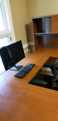 U shaped desk with hutch and file cabinet