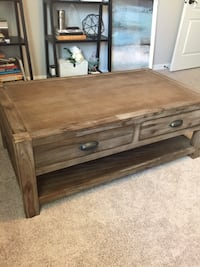 World Market Coffee Table - Brown wooden 2-drawer console table Parrish, 34219