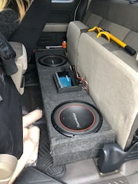 Two 12 inch Pioneers with a Rockford Fosgate  P400-2 Included. Works great will take best offer coming out of a 09 F150 box fitted fits old model fords also. 1626 mi