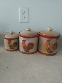 three white-and-red ceramic canisters El Paso, 79901
